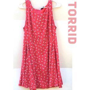 Torrid Womens Plus Size 16 Pink Floral Swing Dress
